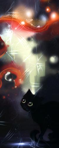 Аватар вконтакте Черный зеленоглазый кот смотрит на клубы красного дыма, автор Apofiss