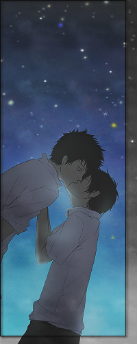 Аватар вконтакте Kyoya Hibari / Хибари Кея целует Ямамото Такеши / Takeshi Yamamoto из аниме Репетитор-киллер Реборн! / Katekyo Hitman Reborn! на фоне звездного ночного неба