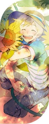 Аватар вконтакте Радостный Haru / Хару из аниме Tsuritama / Душа рыбалки с поливательным шлангом в руке сидит среди подсолнухов