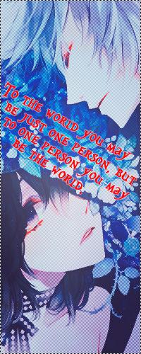Аватар вконтакте Темноволосая девушка с грустным взглядом, с синими розами на голове, влюбленно смотрит на парня с серо-голубыми волосами (To the world you may be just one person, but to one person you may be the world.)