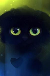 Аватар вконтакте Черная кошка с зелеными глазами, художник Apofiss