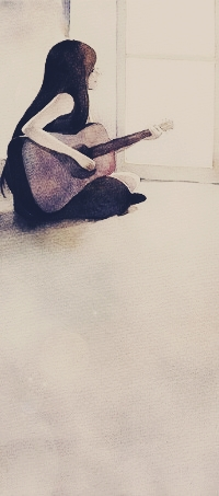 Аватар вконтакте Девушка сидит на полу у окна с гитарой
