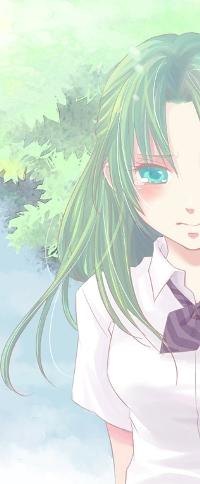 Аватар вконтакте Шион Сонодзаки / Shion Sonodzaki из аниме Когда плачут цикады / Higurashi no Naku Koro ni со слезами на глазах, на фоне зеленой листвы и голубого неба