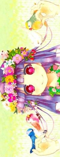 Аватар вконтакте Фуруде Рика / Furude Rika из аниме Когда плачут цикады / Higurashi no Naku Koro ni с цветами в волосах и на шее держит птиц