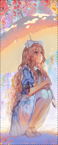 Аватар вконтакте Алиса Лидделл / Alice Liddell из мультфильма Алиса в стране чудес / Alices Adventures in Wonderland в стиле аниме сидит в луже под зонтом