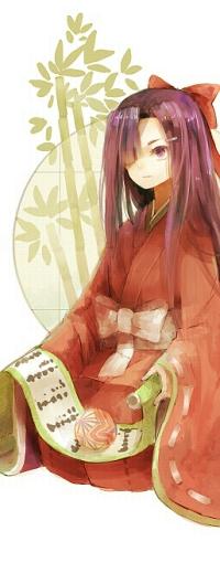 Аватар вконтакте Цубаки Касугано / Tsubaki Kasugano из аниме Дневник Будущего / Future Diary / Mirai Nikki на фоне бамбука с дневником и мячиком в руках