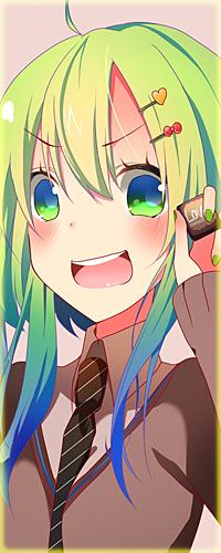Аватар вконтакте Смущенная Vocaloid Gumi Megpoid / Вокалоид Гуми Мегпоид с широко раскрытым ртом держит кусочек шоколада в руке (Love / Любовь)