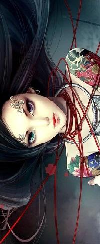 Аватар вконтакте Девушка с разноцветными глазами и цветными татуировками на плечах