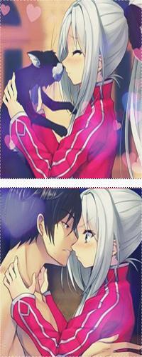 Аватар вконтакте Девушка целует черного кота и он превращается в парня