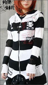 99px.ru аватар Рыжая девушка в черно-белом полосатом кардигане с крестом на замке (Punk Rave / Панк-Рейв)