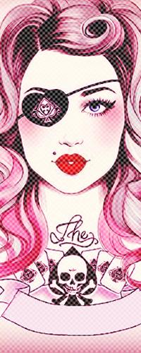 99px.ru аватар Девушка с розовыми волосами и повязкой на глазу в форме сердечка, с татуировкой на груди в виде черепа и карт с лентой (The)