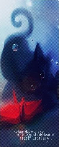 99px.ru аватар Черный котенок наклонил голову возле красного бумажного жаворонка (what do we say to the god of death? not today)