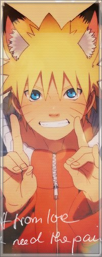 Аватар вконтакте Uzumaki Naruto / Узумаки Наруто - главный герой аниме Наруто / Naruto с лисьими ушками улыбается и показывает жесты пальцами