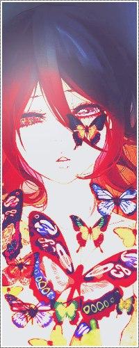 Аватар вконтакте Анимешная печальная девушка с черными волосами и летающими вокруг нее бабочками