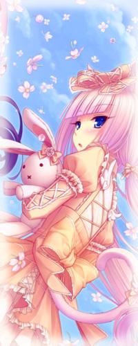 Аватар вконтакте Vanilla / Ванилла / Ваниль из манги Кошачий Рай / Neko Paradise держит кролика