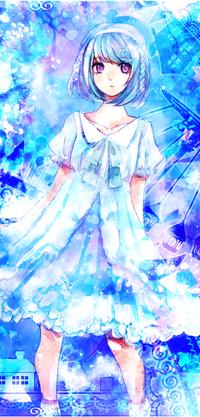 Девочка в голубом платье аниме