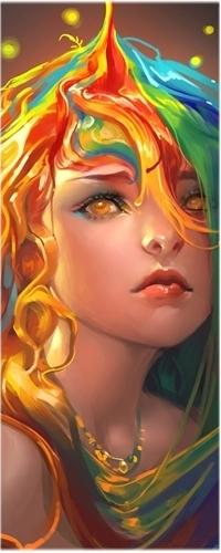 Девушка аниме с разноцветными волосами