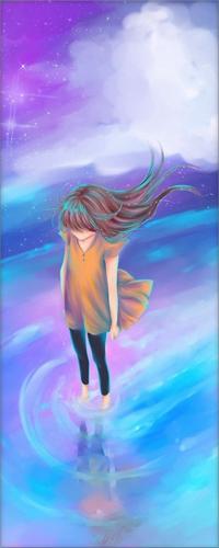 Аватар вконтакте Девушка стоит в воде на фоне ночного неба, на котором горят звезды и облаков