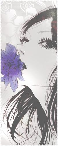 Аватар вконтакте Брюнетка с фиолетовым цветком во рту