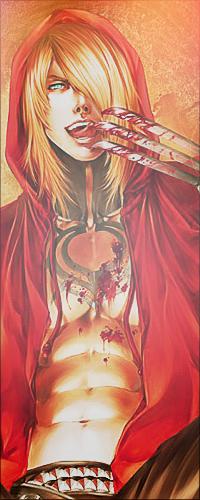 Аватар вконтакте Гундзи / Gundzi из аниме Кровь виновной собаки / Togainu no Chi слизывает кровь со своей руки