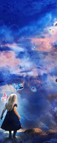 99px.ru аватар Маленькая девочка в черном платье, смотрит в небо с бабочками