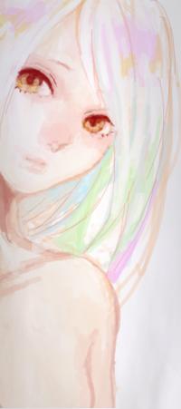 Аватар вконтакте Портрет желтоглазой светловолосой девушки с прядями цветных волос