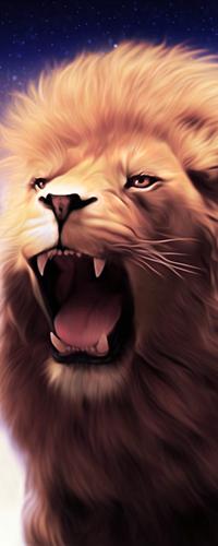 99px.ru аватар Грозный рык льва на фоне ночного неба со звездами