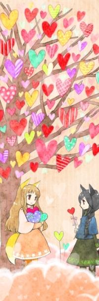 Аватар вконтакте Анимешная чиби / chibi девушка-лиса сидит под деревом с листвой в форме сердечек и держит три сердечка, рядом с ней стоит темноволосая чиби девушка-лиса и дарит ей сердечко на палочке