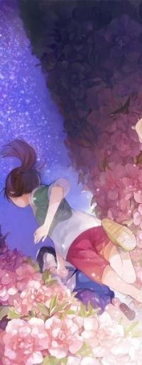 Аватар вконтакте Анимешные девочка и мальчик бегут среди цветов на фоне ночного неба