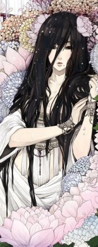Аватар вконтакте Темноволосая девушка с цветком в голове стоит среди цветов