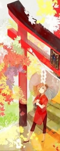 Аватар вконтакте Кагура / Kagura из аниме Гинтама / Gintama стоит с зонтиком от солнца под японской аркой, окруженной цветами