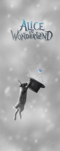 Аватар вконтакте Кролик схватился за шляпу, из которой вылетают голубые бабочки, на фоне падающего снега (Alice in wonderland / Алиса в стране чудес)