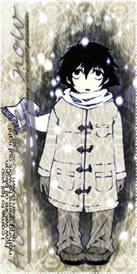 Аватар вконтакте Маленький Эль Лоулайт / L Lawliet из манги Тетрадь Смерти / Death Note зимой стоит и смотрит вверх на падающий снег