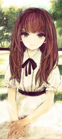 99px.ru аватар Зеленоглазая анимешная девушка с каштановыми волосами в белом платье с коричневым бантом, сидит на земле соединив руки