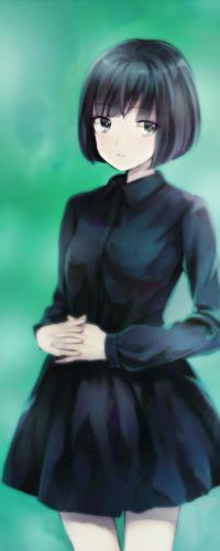 Аниме чёрное платье арт