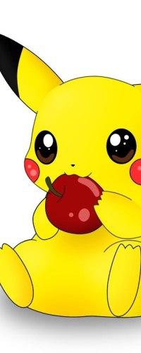 Аватар вконтакте Пикачу / Pikachew из аниме Покемон / Pokemon держит красное яблоко