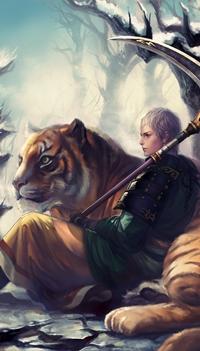 Аватар вконтакте Катоу Киумаса / Katou Kiyomasa из игры Воины Самураев / Samurai Warriors / Sengoku Musou с косой сидит рядом с тигром в зимнем лесу