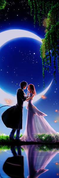 Аватар вконтакте Стройные юноша и девушка на романтическом свидании, держась за руки, стоят на берегу водоема, на фоне звездного ночного неба и ярко светящейся луны в форме полумесяца, вокруг них летают огненные светлячки