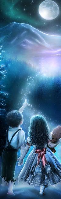 Аватар вконтакте Мальчик, держа за руку девочку с плюшевым медвежонком, указывает пальцем на луну и северное сияние в ночном звездном небе