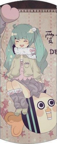 Аватар вконтакте Happy chibi Vocaloid Hatsune Miku / счастливая маленькая Вокалоид Хатсуне Мику в теплой одежде, с воздушными шариками-сердечками, сидит на парящей в воздухе веселой полосатой рыбке, на фоне обоев с розовыми звездочками