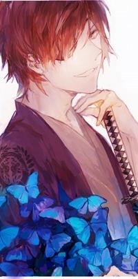 Аватар вконтакте Улыбающийся Дате Масамуне / Date Masamune из игры и аниме Эпоха смут / Sengoku Basara с катаной и синими бабочками