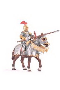 Аватар вконтакте Рыцарь на коне в доспехах и с копьем на белом фоне