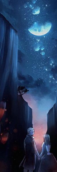 Аватар вконтакте Молодой человек и девушка, взявшись за руки стоящие в ущелье с крутыми, отвесными скалами, горящими на них красными фонарями на фоне ночного звездного неба с полумесяцем, автор Niken Anindita