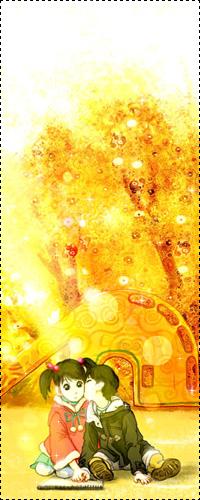 Аватар вконтакте Мальчик целует девочку в щечку, сидя на детской площадке, на заднем фоне горка и деревья с золотой листвой, из манги Розовая Леди / Pink Lady