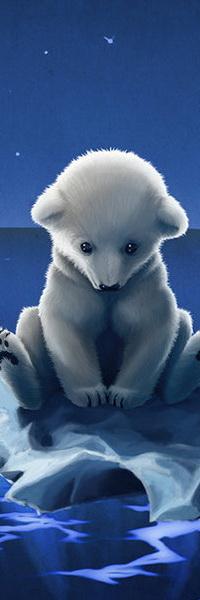 Аватар вконтакте Белый медвежонок, сидящий на льдине, плавающей в холодном море на фоне звездного, ночного неба