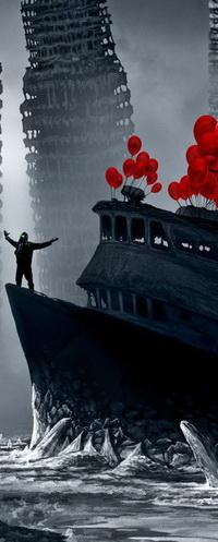 99px.ru аватар Апокалипсис сегодня: разрушенные огромные небоскребы, вмерзший в лед корабль, человек в униформе и противогазе, раскинув руки стоящий на носу корабля, и ярко-красные надувные шарики над рубкой, на фоне серого, угрюмого неба и туманной дымки