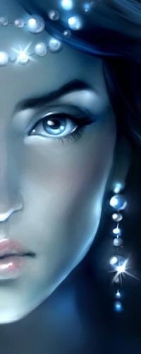 Аватар вконтакте Половина лица девушки с украшениями в синих тонах
