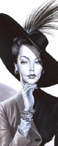 Аватар вконтакте Дама в шляпе с пером и рукой у подбородка