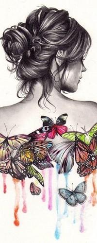 Женщина рисунок со спины 4