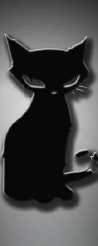 Аватар вконтакте Черный кот сидит, закрыв глаза